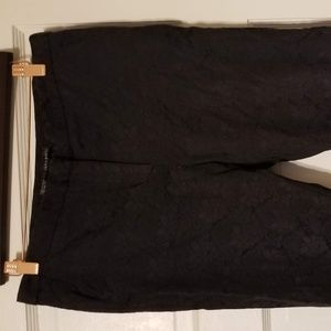 Zara Size L Jacquard Trouser/Pant, Black